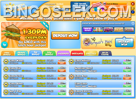 Costa Bingo Lobby