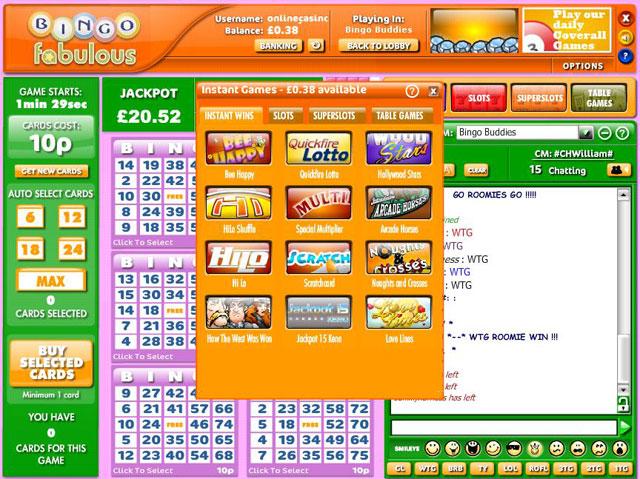 Bingo Fabulous Lobby